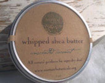 Unscented Whipped Shea Butter - 4oz - Plain Body Butter, Vegan, Coconut