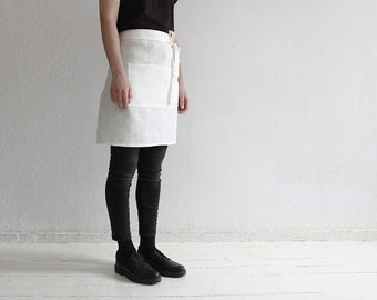 White linen apron, Half apron, Waist apron, White apron, Off white apron, Cafe apron, Kitchen apron, Short apron for cook, Soft linen aprons
