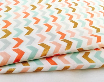 Gold and Pastel Chevron Fabric - Metallic Gold, Coral and Mint on Premium Apparel Cotton for Home and Nursery Crafts by the Yard