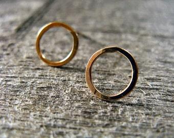 Small hoop stud earrings in 14 karat gold fill