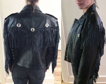 Western leather jacket with fringe detail