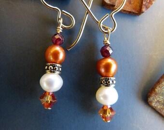 Faceted Garnet, Pearl and Crystal Earrings