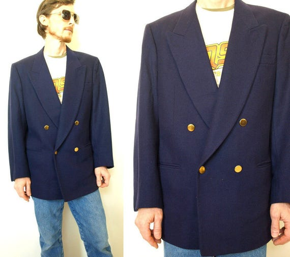 Vintage navy blue wool double breasted nautical suit jacket