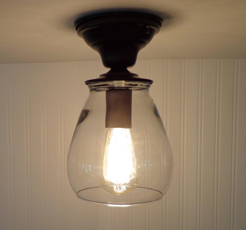 Verona Flush Mount Glass CEILING LIGHT with Edison Bulb