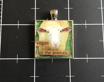Vegan for the Animals, Cute Lamb Pendant, Sheep Necklace, 50% goes to the current focus charity