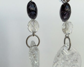 Black and Crystal Earrings, Clear Acrylic Crackle Bead Black Lampwork Glass Bead