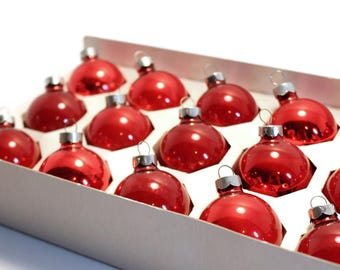 """SALE 1.75""""  Boxed RED Christmas Ornaments, Mercury Glass"""