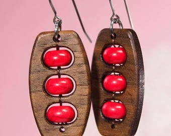 Mrs Roper | funky earrings | mid century | wood and stone | 70s clothing | Three's Company | Groovy