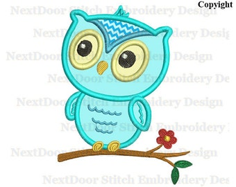 Owl embroidery design, baby owl on branch woodland animals, machine embroidery applique download,  owl-051