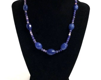 Beautiful Blue Sapphire Gemstone Necklace, Birthstone of September