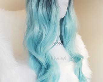 """Turquoise black ombre 28"""" long curly wig [Neptune] // Mermaid // Cosplay // Lolita // Anime"""