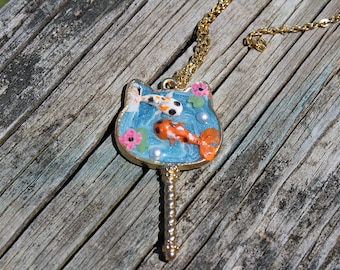Cat Necklace, Koi necklace, polymer clay koi necklace, Koi jewelry, koi pond necklace, open bezel necklace, fish necklace, koi pond