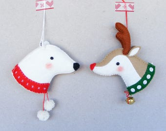 Felt PDF sewing pattern - Reindeer and Polar bear - felt Christmas ornaments, digital item