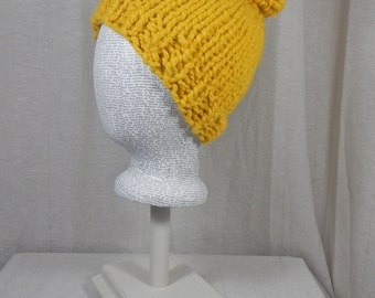 Wool Blend Chunky Knit Hat with Pom Pom