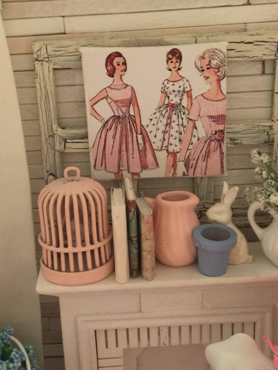 "Miniature Vintage Style Pink Dress Pattern Canvas sign 2"" x 2"""
