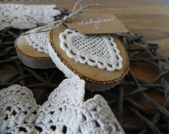 Natural birch slices with crochet heart:-)