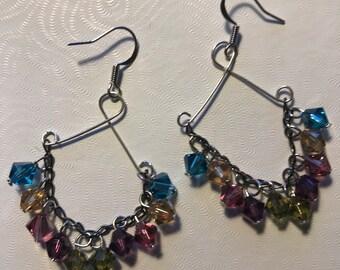 Blue, Pink, Purple, Gold Swarovski Beads, Silver Wire Earrings