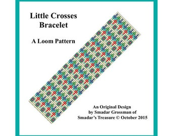 Bracelet Beading Pattern, Loom Stitch / Little Crosses / Geometric Intricate Design for Loom, Instant Digital Download PDF Jewelry Making
