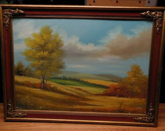 Colorful Country Landscape Oil On Board Signed Vintage Painting