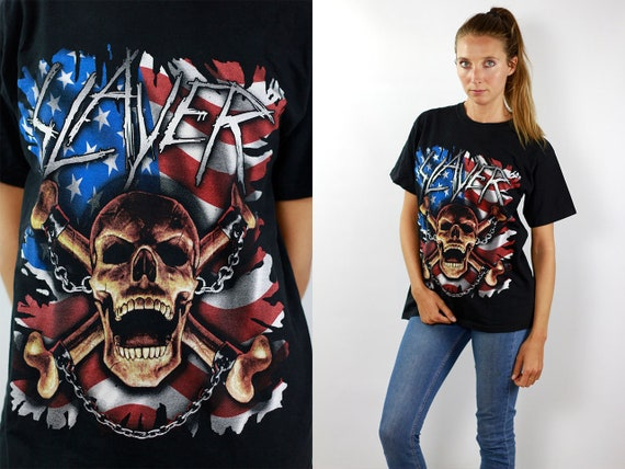 Vintage T-Shirt Black Heavy Metal T-Shirt Vintage Slayer T-Shirt Black T-Shirt Retro Band T-Shirt Black T-Shirt Oversize 90s T-Shirt Slayer