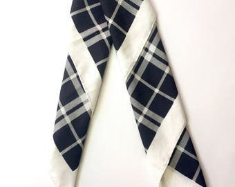 Black and White Plaid Neck Tie Scarf Made in Itlay
