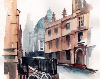 London Streets Cityscape ORIGINAL Watercolor painting, architecture city painting, cityscape and bicycle painting