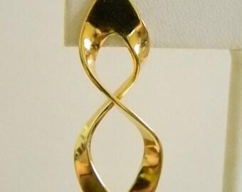Bright Gold Tone Long Twist Pierced Earrings