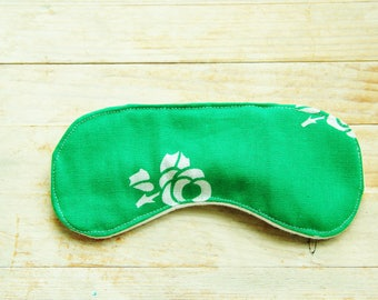 Sleep mask retro eye night bed beauty travel flower rose green white bridesmaid Fathers day unisex gift him her