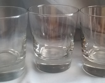 Set of 3 Vintage Weighted Bottom Old Fashion Glasses