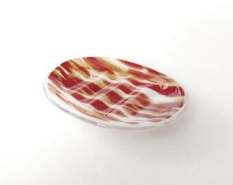 Fused Glass Soap Dish - Ridged Soap Dish - Bathroom Decor - Brown Tan White - Kitchen Decor - Bath Accessory - Earth Tone - Animal Print