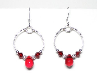 Red circle earrings, red hoop earrings, red dangle earrings, bright red earrings, siam red glass earrings, siam jewelry, scarlet jewelry