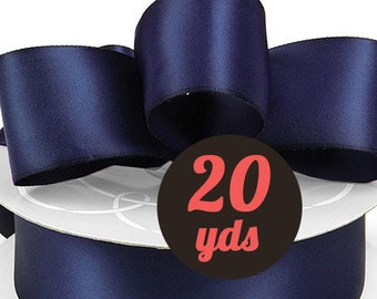 "Satin Navy Blue Ribbon - 7/8"" wide at 20 yards"