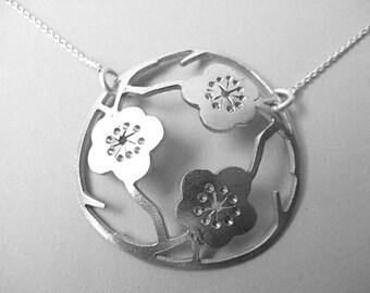 Small Sterling Silver 3  Sakura pendant