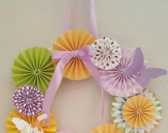 Paper Rosette Wreath, Easter Wreath, Spring Wreath