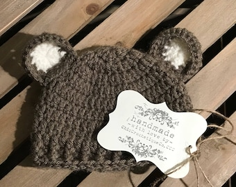 Beanie Hat, Baby Bear Beanie Hat Crochet, Newborn Photo Props, Family Portrait, Unique Baby Shower Gift, New Baby Boy or Girl Gift Ideas