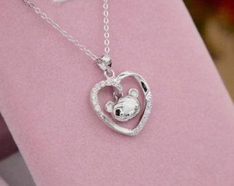 Heart with Bear   Rhinestone  925 silver    pendant charm diy  necklace  1 cm