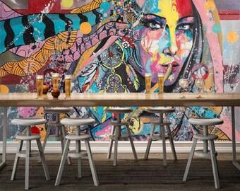 3D Graffiti 62 views Wallpaper mural Wall Print Decal Wall Deco Indoor wall Murals Wall Sticker kids Child Wallpaper murals
