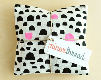 Modern Organic Lavender Sachet Set in Linen with Black and Pink Pebble Motif Handmade Hostess Gift - 2 Sachets Natural Home