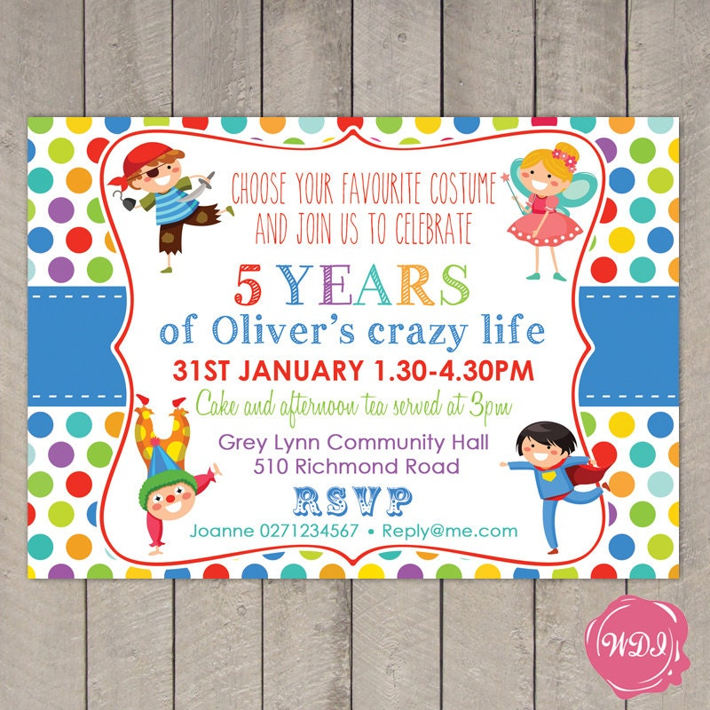 Boys birthday party invite fancy dress costume party zoom stopboris Images