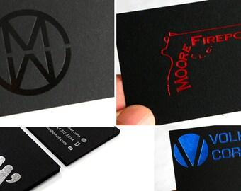 100 Business Cards - black 14PT matte stock - pink, red, blue, gold, silver, black, green, copper or hologram metallic foil - custom printed