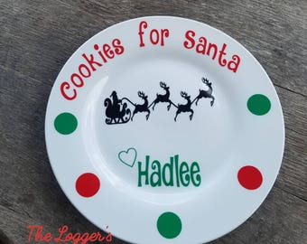 Santa Christmas Cookie Plate-Cookies for Santa-Personalized-Christmas Decorations