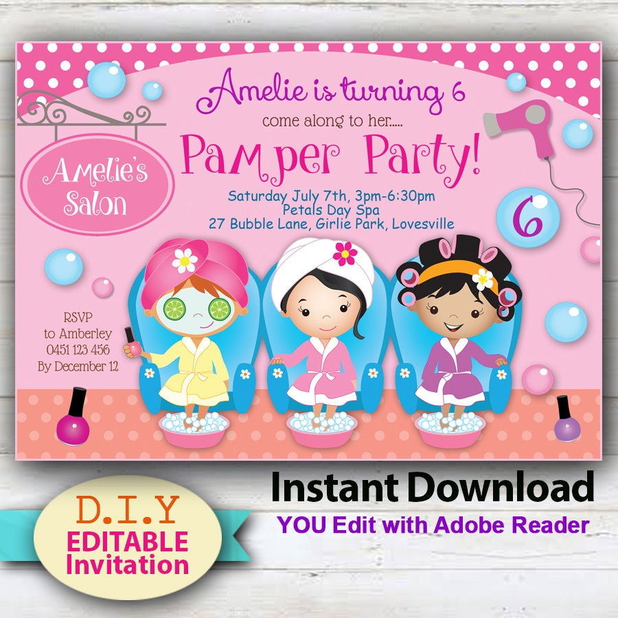 EDITABLE Pamper Party Invitation girls pamper party