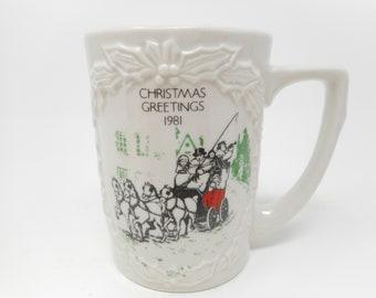 Vintage Hall China Company 1981 Christmas Mug Numbered COA Limited Edition