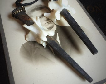 coffin nail necklace, taxidermy bone jewelry, wiccan, wicca, coffin nails, real coffin nail,vertebrae necklace