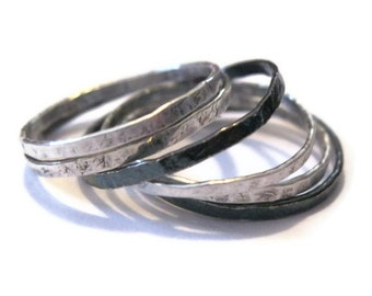 Sterling Silber dünn Stapeln Ringe - Set von fünf 5