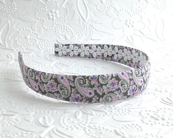 Girls Headband ~ Fabric Headband ~ Adult Headband ~ Hard Plastic Fabric Covered Headband - Purple & Pink Paisley Fabric Headband