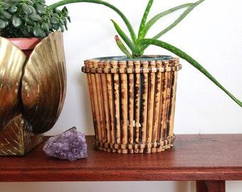 Vintage Boho Rattan Plant Basket / Vintage Small Plant Basket / Boho Bamboo Basket / bamboo / Vintage Rattan Lamp Shade