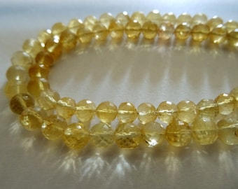 5-10 mm Natural Citrine Micro Faceted Round 8x1/2 inch Half Strand-AA+