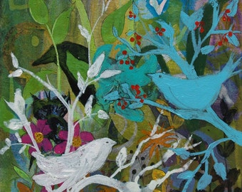 Social Network print of birds and butterfly