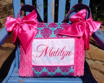 Beautiful Hot Pink Turquoise Damask Girl Diaper Bag w/ Hot Pink Minky Dot Fabric Bottle Pockets
